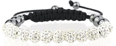 Stone River Jewellery Shamballa Bracelet with 11 Diamond White (Aprils Birth Stone) Swarovski Crystal Disco Balls & Hematite Beads