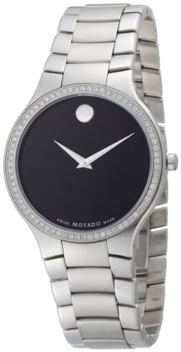 Movado Men's 0606384 Serio Stainless-Steel and Diamond Black Round Dial Watch