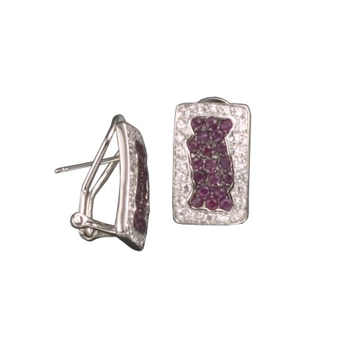 C.Z. AND RUBY SQUARE RHODIUM PLATED (.925) STERLING SILVER EARRINGS (Nice Holiday Gift, Special Black Firday Sale)