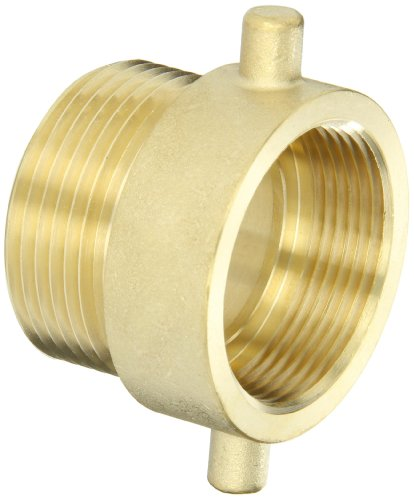 "Dixon Valve HA15T15F Brass Fire Equipment, Hydrant Adapter with Pin Lug, 1-1/2"" NPT Female x 1-1/2"" NST (NH) Male"