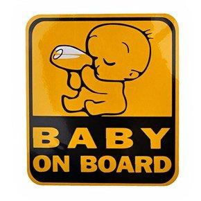 Baby Drinking Milk On Board Design Reflective Car Sticker Car Decal - 11.5Cm*12.5Cm