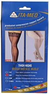 Graduated Compression Thigh Highs 20-30 mmHg (Sheer with Lace Top and Silicone Band)... by ITA-MED