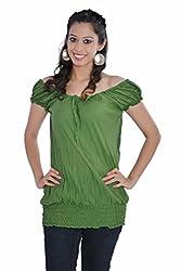 Jaipur Kala Kendra Women's Cotton Cap Sleeves Casual Top Medium Green