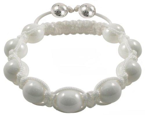 Tresor Paris Vire White Ceramic With Black Diamond Set Bracelet