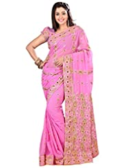 Designer Divine Pink Colored Embroidered Faux Georgette Saree By Triveni