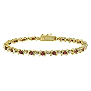 18k Gold Plated Sterling Silver Garnet