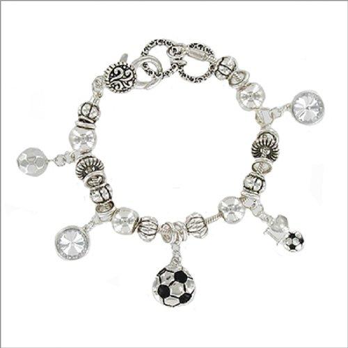 Soccer Theme Charm W Rondelle Bracelet #040269