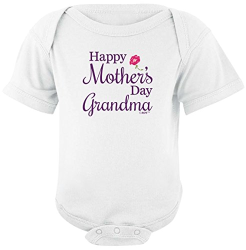 Funny Baby Clothes Happy Mother's Day Grandma Bodysuit 6 Months White