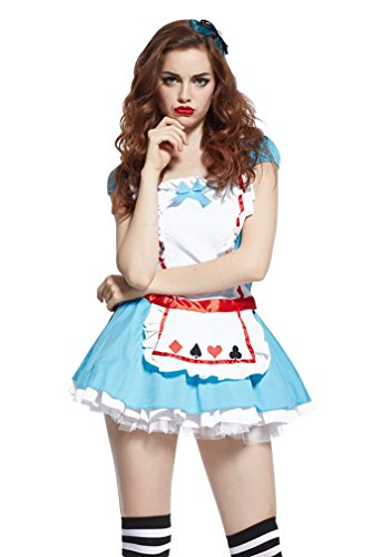 Ninimour- Women's Adult Alice in Wonderland Dress Halloween Costume