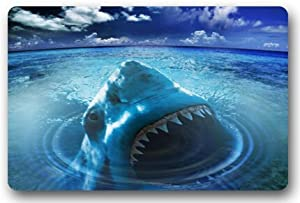 Great white shark door mats cover non slip machine washable outdoor indoor bathroom for How do sharks use the bathroom