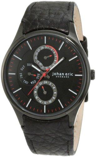 Johan Eric JE4001-13-007 - Reloj analógico de cuarzo para hombre con correa de piel, color negro