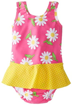 i play. Baby-Girls Infant Ultimate Swim Diaper Skirty Tanksuit,Hot Pink Daisy, Small (3-6 Months)