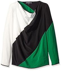Salvatore Ferragamo Women's Colorblock Top, Black/Green, 38 IT/4 US