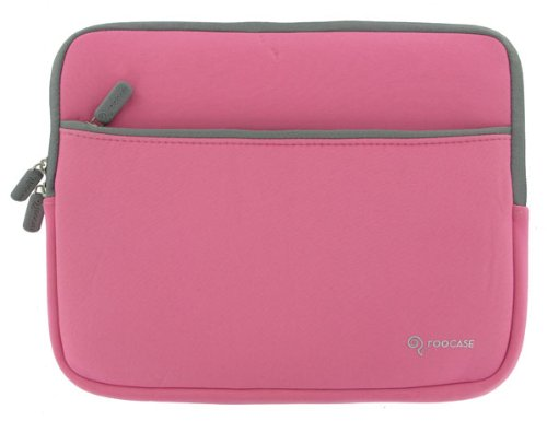rooCASE Neoprene Netbook Sleeve Case Cover for ASUS Eee PC T101MT-EU27-BK 10.1-Inch Convertible Tablet Black (Invisible Zipper Dual-Pocket - Pink)