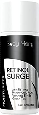 Best Retinol Moisturizer Cream For Daily Facial Use - Natural & Organic - 2.5% Retinol, Hyaluronic Acid, Green Tea, Vitamins E & B5 to Fight Aging, Wrinkles, Fine Lines & Spots - by Body Merry - 3.4oz