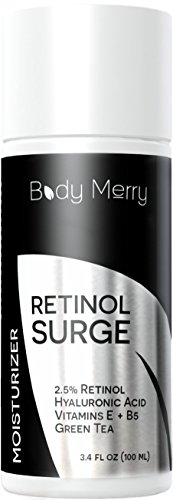 Retinol Moisturizer For Face - Best Daily Day/ Night Cream - Natural Anti-Aging with 2.5% Retinol, Hyaluronic Acid, Green Tea & Vitamins - Fights Wrinkles, Fine Lines & Spots - Body Merry - 3.4 oz