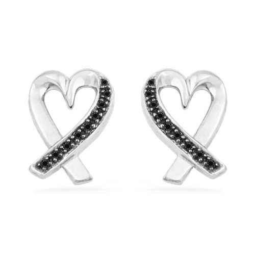 Platinum Plated Sterling Silver Black Round Diamond Heart Earring (0.06 cttw)