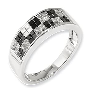 IceCarats Designer Jewelry Size 7 Sterling Silver Black White Diamond Ring