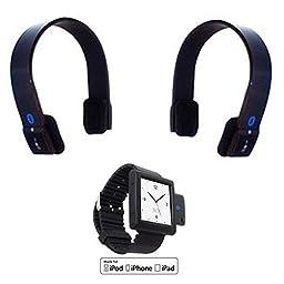 KOKKIA i10Watch_Plus_2S10: i10 Luxurious Black Tiny MULTISTREAMING Bluetooth iPod Transmitter + Black iPod Nano 6G wrist band, + 2 EDR Bluetooth Stereo Headsets. (iPod Nano Not included).