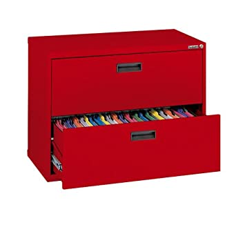 "Sandusky 400 Series Red Steel Lateral File Cabinet with Plastic Handle, 30"" Width x 27-1/4"" Height x 18"" Depth, 2 Drawers"
