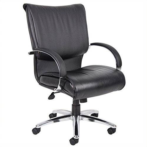 boss-office-products-b9707c-mid-back-leatherplus-executive-chair-with-chrome-finish-and-knee-tilt-in