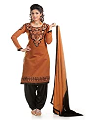 Ethnic For You Brown & Black Chanderi Cotton Embroidery Work Dress Material-ETH5202