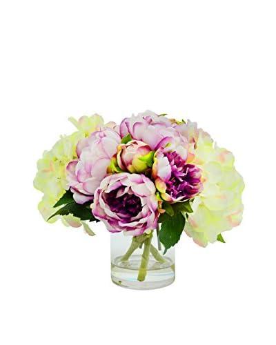 Creative Displays Cream Hydrangea & Lavender Peony Bouquet in a Glass Vase