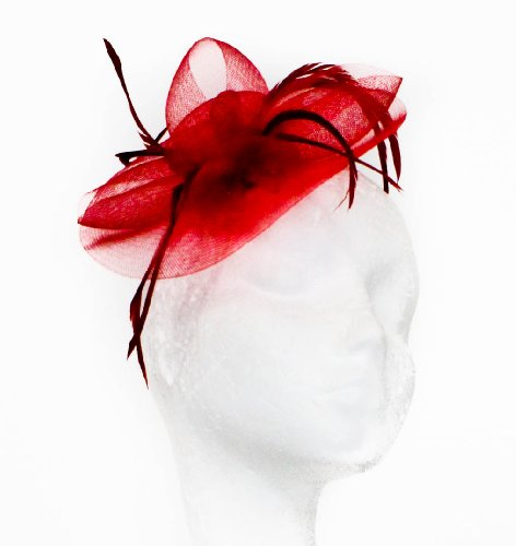 Womens Large Mesh and Feather Hair Fascinator on a Beak Clip and Brooch Pin in Red