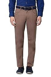 Peter England Men's Slim Fit Pants (34_Brown)