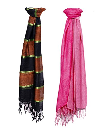 Indistar Women Soft Luxurious Viscose Stole for All Seasons- Set of 2