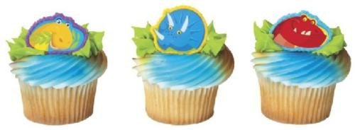 12 Cute Dinosaur Cupcake Rings Birthday Party Favors