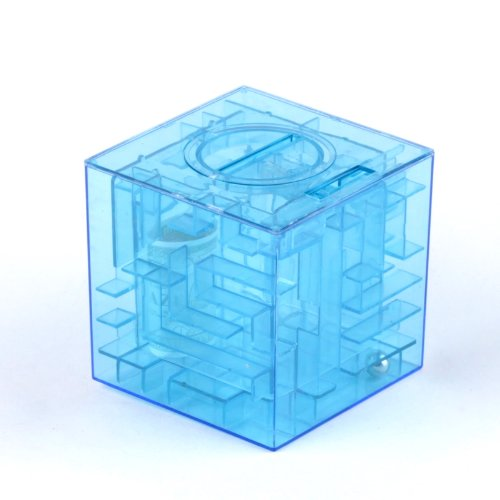 Ostart Money Maze Bank Saving Collectibles Coin Case Holder Gift Box 3D Puzzle Game - Blue