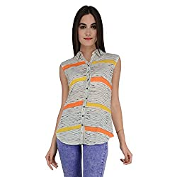 Terquois Linen Printed shirt with back hoisery(1425_Orange_XL)