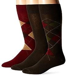 Jockey Men's Argyle 3 Pack Sock, Cabernet Fashion, 10-13/Shoe Size 6-12