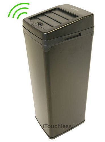 iTouchless Fully Automatic Black Color Touchless Trashcan SX, 13 Gallon (52 Liter)