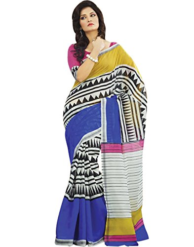 Cbazaar Multi-Coloured Printed Silk Saree (multicolor)