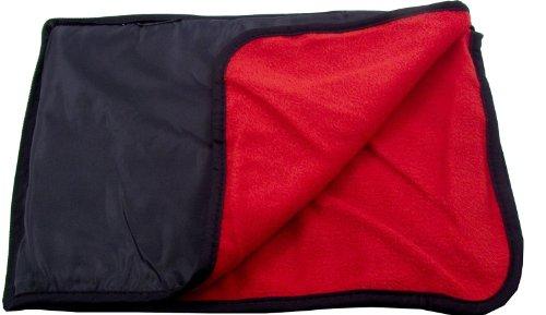 Outdoor Water Resistant Poly Liner Back Nylon Fleece Stadium Blanket Beach Throw Mat Cushion - Black/Red