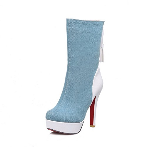 balamasa-womens-chunky-heels-platform-color-matching-thick-bottom-heel-lightblue-soft-material-boots