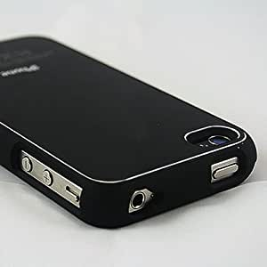 New Stylish Apple iPhone 4 4S Case and Screen Protector - Aluminium Hard Black Back Case Cover for iPhone 4 & iPhone 4S