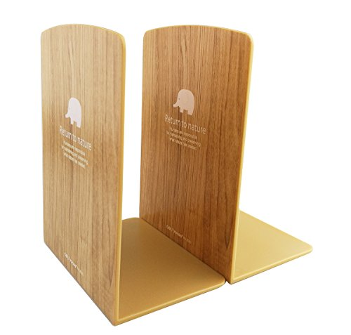 Simple Nature Plastic Bookend Book Stand Bookends Book Ends Shelf Shelves Holder / Decorative Bookshelf Display Organizers (Log Color)