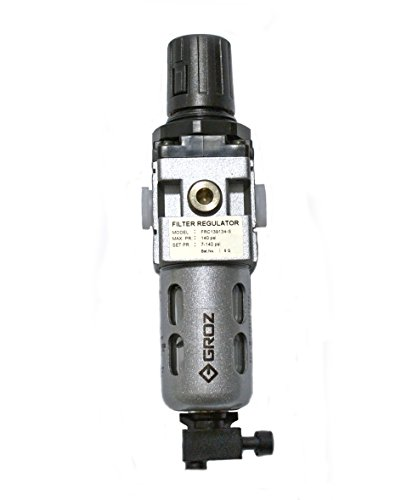 "Groz 60351 Air Filter - Regulator Combination, Polycarbonate Bowl, Miniature-1/4"" NPT, 20 CFM"