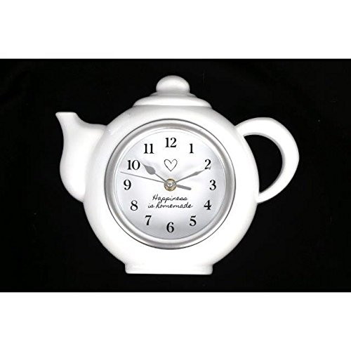 Modern Hanging White Tea Pot Shaped Clock Kitchen 'Happiness Is Homemade' Gift (White Modern Teapot compare prices)