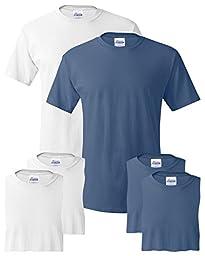 Hanes Men\'s 6-Pack Crew T-Shirt, 3 White / 3 Denim Blue, Small