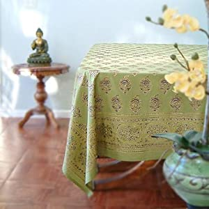 Memories of Shalimar ~ Asian Indian Green Gold Tablecloths 90x70