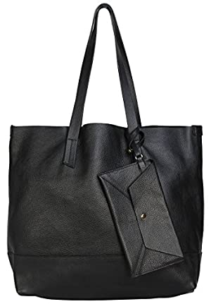 POVERTY FLATS Raw Edge Leather Tote