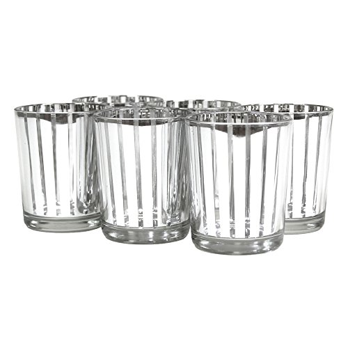 Koyal 6-Pack Striped Votive Cup, 2.5-Inch, Silver front-1061452