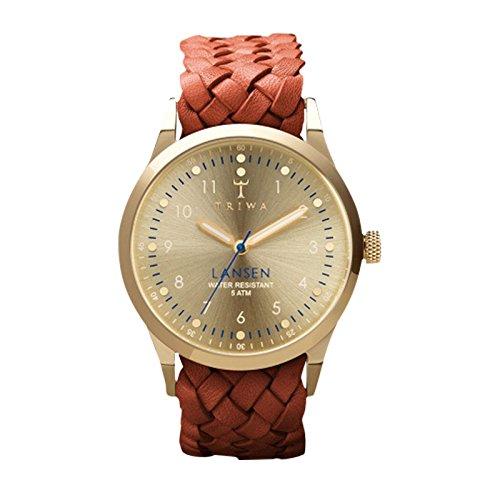 Triwa - - Homme - Montre Gold Lansen Bracelet Nato Cuir Tressé Marron pour homme - TU