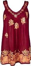 Sakkas Batik Embroidered V-Neck Sleeveless Blouse  Various