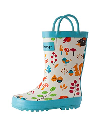 Oakiwear Kids Waterproof Rubber Rain Boots with Easy-On Handles (11, Forest Animals) (Kid Rain Boots compare prices)
