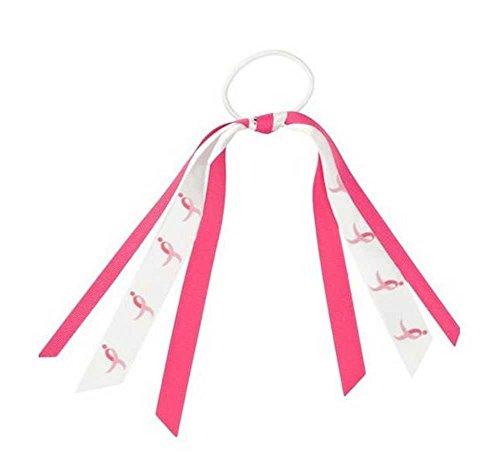 Susan G Komen Hair Ribbon Elastic Pony Tail Holder, Pink/White. Komenv026300